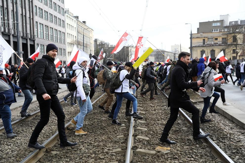 Demonstranter i Polen